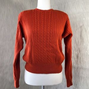Liz Claiborne Cable Knit Lambswool Orange Sweater